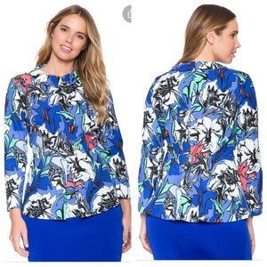 Eloquii NWT Printed Front Pleat Top Floral/Blue